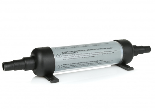 Eliminates all odours! Very space-saving and easy installation directly into the ventilation line of the holding tank. For 16/19 mm hose connection. Filter's length: 240 mm. (Imagen 1 de 1)