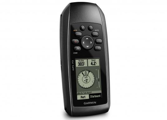 El GPS 73 es un GPS portátil dealta sensibilidad que detecta rápidamente las señales de satélite y determina su posición incluso en las condiciones más difíciles.  (Imagen 1 de 9)