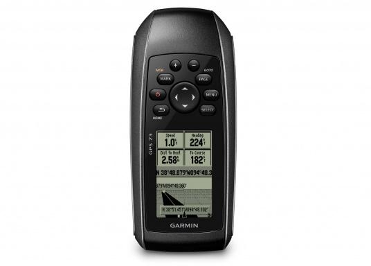 El GPS 73 es un GPS portátil dealta sensibilidad que detecta rápidamente las señales de satélite y determina su posición incluso en las condiciones más difíciles.  (Imagen 2 de 9)