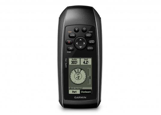 El GPS 73 es un GPS portátil dealta sensibilidad que detecta rápidamente las señales de satélite y determina su posición incluso en las condiciones más difíciles.  (Imagen 3 de 9)