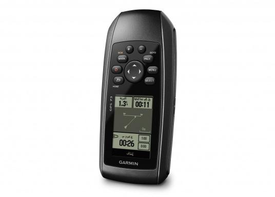 El GPS 73 es un GPS portátil dealta sensibilidad que detecta rápidamente las señales de satélite y determina su posición incluso en las condiciones más difíciles.  (Imagen 5 de 9)