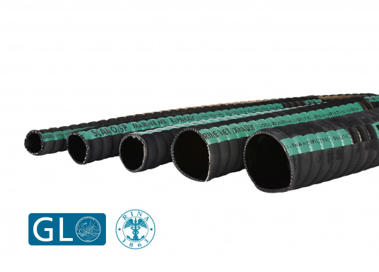 Flexible exhaust hoses for water-cooled exhaust systems. The use of rubber hoses in the exhaust system significantly reduces resonance vibrations. Priced per meter.  (Imagen 1 de 1)